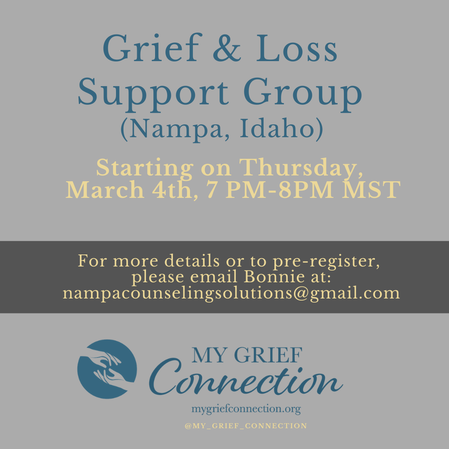 Nampa, Idaho Grief & Loss Support Group Starting on Thursday, March 4, 2021 from 7:00 PM-8:00 PM MST