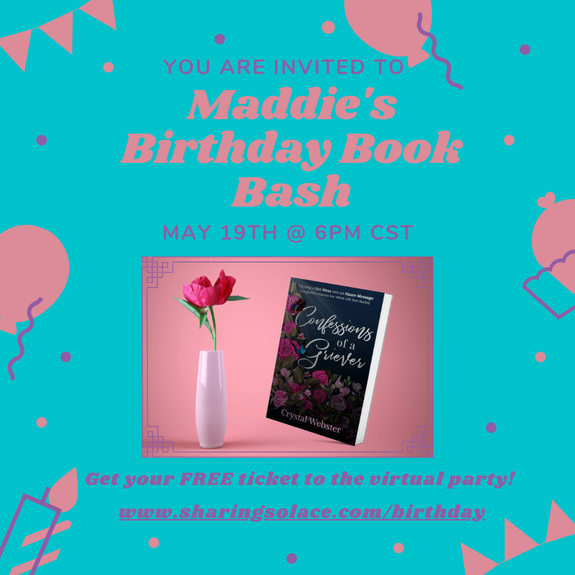You are invited to Maddie's Birthday Book Bash, May 19th at 6pm CST